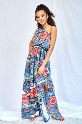 Modré vzorované šaty MQ046