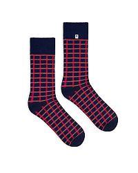 Modro-červené ponožky Checkered