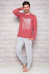 Pánske bordovo-sivé pyžamo Karol