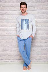 Pánske sivo-modré pyžamo Karol