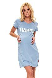 Sivo-modrá bavlnená tehotenská nočná košeľa TCB9504