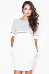 Sivo-smotanové šaty M400