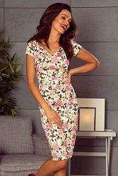 Smotanové kvetované šaty M63600