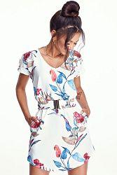 Smotanové kvetované šaty MQ050