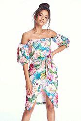 Viacfarebné kvetované šaty MQ047