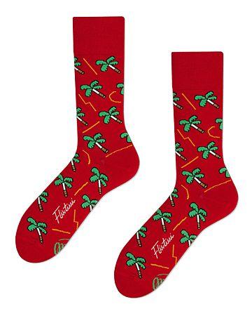 Červené ponožky Palms on Fire